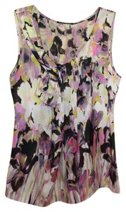 Elie Tahari Silk Floral Top Ivory/Black/Pink/Lilac/Yellow
