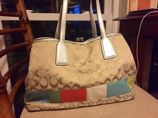 Coach Color-blocking Monorgram Tote in Light Beige