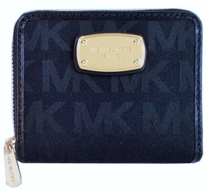 Michael Kors Signature JS Bifold Zip Around Wallet NWT Dark Navy Jacquard
