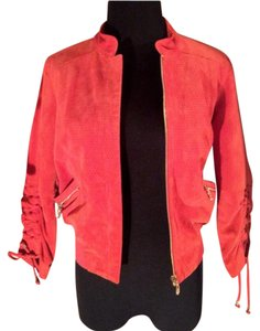 bebe Hyper orange Leather Jacket