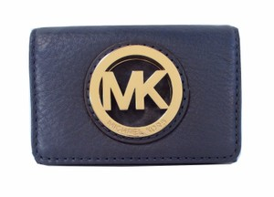 Michael Kors Fulton Card Case Wallet NWT Navy Pebbled Leather