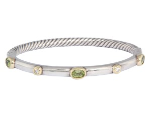 David Yurman Peridot and Diamond Bangle Bracelet