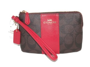 Coach Signature 54629 Wristlet in Dark Brown / True Red