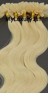 Bleach Blonde; Yellow Tone Nail Tip Body Wavy Hair Extensions 50 Grams Fusions
