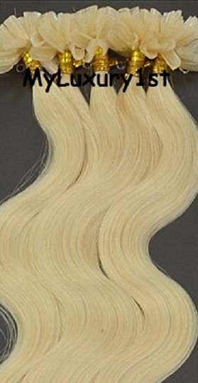 MyLuxury1st Bleach Blonde; Yellow Tone Nail Tip Body Wavy Hair Extensions 50 Grams Fusions