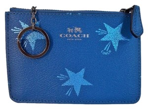Coach Star Canyon Pebbled Leather Key Pouch Wallet Purse NWT Blue F64246