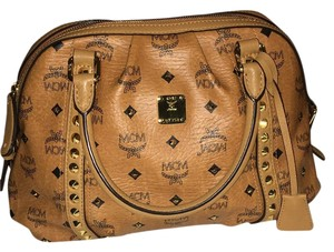MCM Designer Leather Studded Satchel in Tan