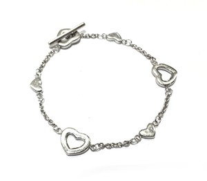 Tiffany & Co. Open And Solid Heart Tiffany & Co Heart Toggle Bracelet Sterling Silver 7