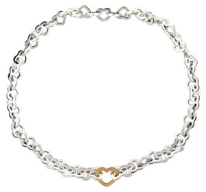 Tiffany & Co. Tiffany & Co Sterling & 18K Gold Heart Link Necklace