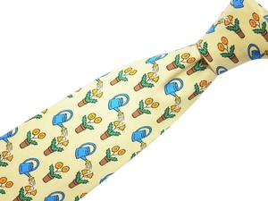Hermès Mint Auth HERMES Dark Blue Gold 100% Silk Men's Necktie ties 7060 TA