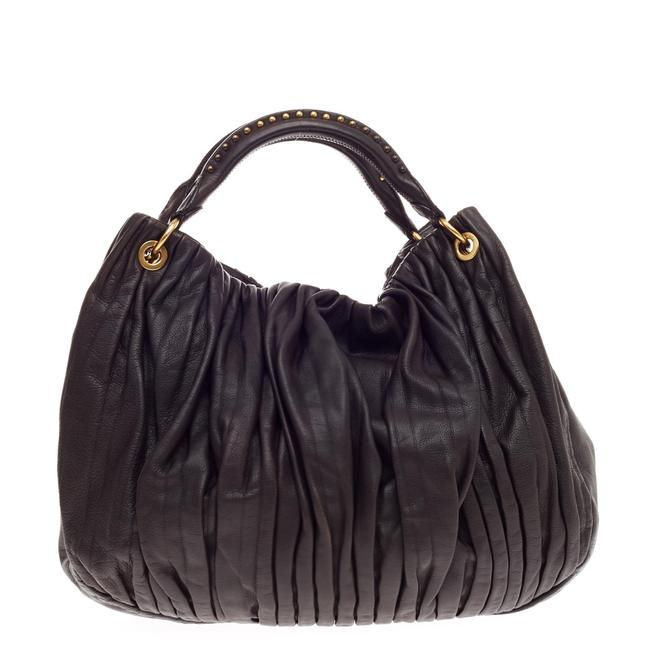 Item - Bosco Convertible Pleated Large Dark Brown Nappa Leather Hobo Bag