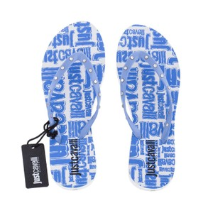 Just Cavalli Summer Designer Flip-flops Beach Sandals Blue Flats