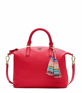 Tory Burch Leather Satchel in Vermillion