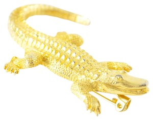 Vintage Alligator Pin | Gold Crocodile Brooch | Gold Pin