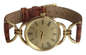 Gucci GUCCI Gold w/ Brown Leather Band Ladies Watch