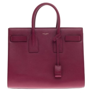 Saint Laurent Leather Tote in Raspberry Red