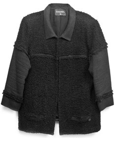 Chanel Boucle Blazer Overcoat Black Jacket