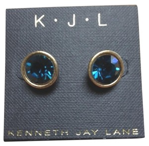 Kenneth Jay Lane Kenneth Jay Lane Faceted Round Simulated Sapphire Pierced Earrings
