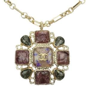 Chanel B12 A Gold Multicolor Gripoix Pendant Necklace