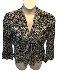 Alfani Career Modern Silk Top Black and White
