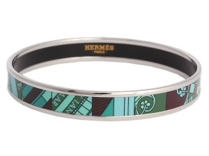 Herms Hermes Narrow Printed Enamel Bracelet