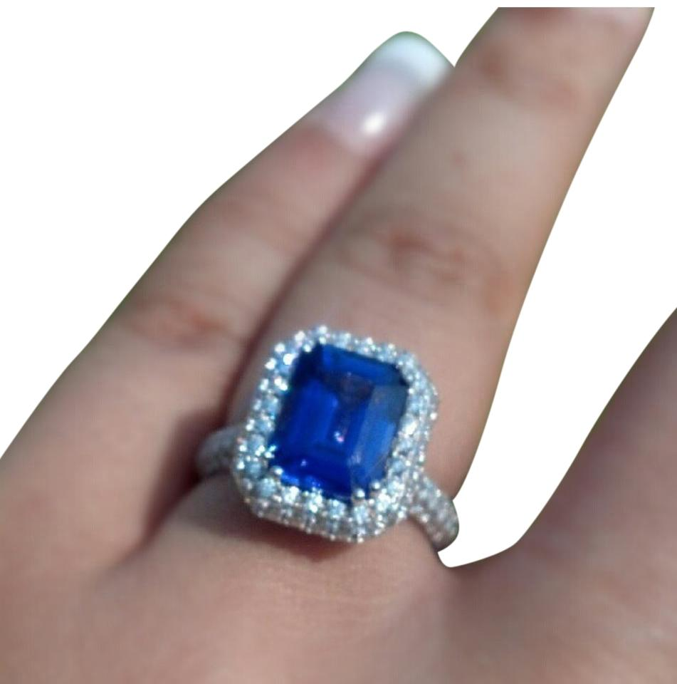 bands tanzanite with tw ring gold carat of white diamonds three stone in