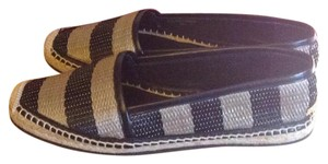 Burberry Leather Espadrille Raffia Black and Honey Flats