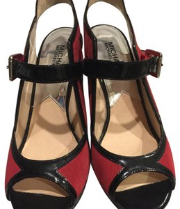 MICHAEL Michael Kors Black patent and red suede Platforms
