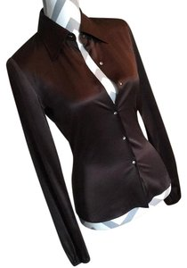Elie Tahari Button Down Shirt Brown
