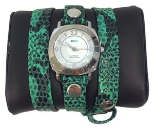 La Mer Collections La Mer Collections Green Snake Skin Watch