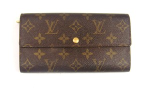 Louis Vuitton Monogram Canvas Leather Sarah Clutch Wallet France w/ Gift Box