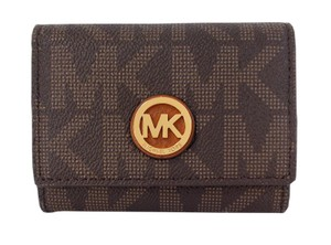 Michael Kors Fulton Signature PVC Snap Card Case Wallet Purse NWT Brown