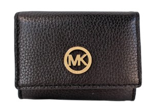 Michael Kors Fulton Pebbled Leather Snap Card Case Wallet Purse NWT Black