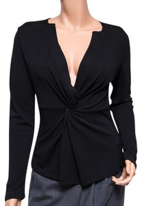 DKNY Sexy V-neck Low-cut Rayon Long-sleeve Top Black