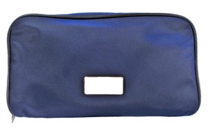 Michael Kors Abbey XL Travel Cosmetic Case Bag Zip Pouch NWT Navy Blue Nylon