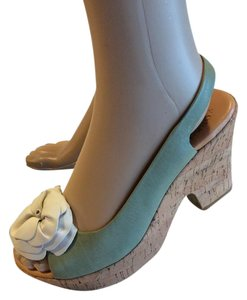 Kork-Ease Wedge Sandals Peep Toe Leather Turquoise Platforms
