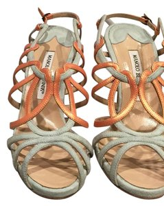 Manolo Blahnik Mint green and coral Sandals
