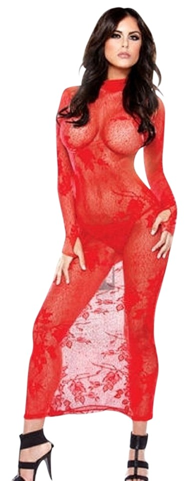 Red Long Sleeve Floral Knit Stretch Lace Chemise Lingerie Gown Dress ...