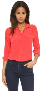 Equipment Silk Button Down Top Cherry Red