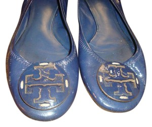 Tory Burch Reva Blue Patent Leather Flats