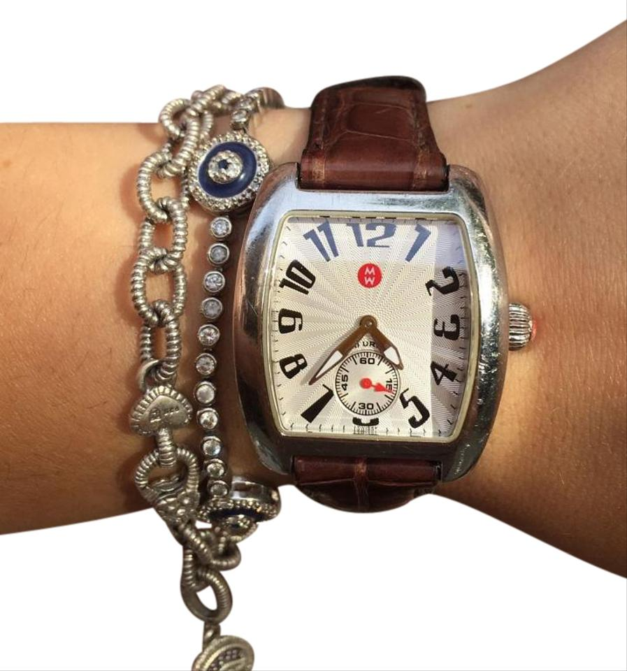 Michele Brown Mini Urban Stainless Steel Silver Alligator Band Watch