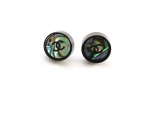 Chanel Chanel 12P Black Resin CC Abalone Shell Pierced Earrings