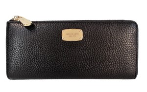 Michael Kors Bedford Three Quarter Zip LG Wallet Leather Clutch NWT $148 Black