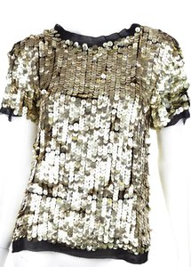 3.1 Phillip Lim Silk Sequin Top Gold