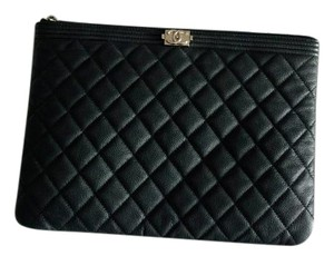 Chanel O Case Le Boy Caviar Black Clutch