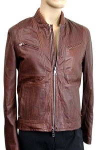 Gucci Men's Leather Brown Leather Jacket