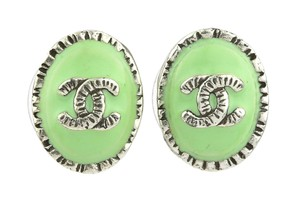 Chanel 06C Mint Green Enamel CC Logo Stud Earrings