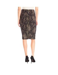 Vince Camuto Herringbone Scuba Pencil Skirt BLACK AND CAMEL
