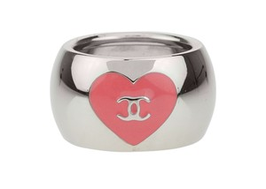 Chanel Valentine Pink Enamel Heart CC Silver Ring