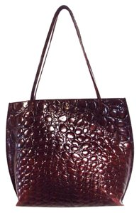 Furla Croc Embossed Leather Tote in Brown